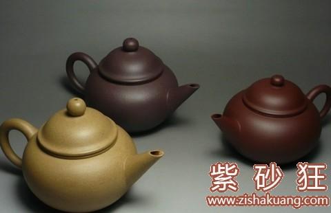 不同的泥料烧出不同颜色的壶